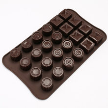 Non-stick 24 Holte Geometrische Vorm Silicone Chocolade Molds Jelly Ice Mallen Cake Mould DIY Bakvormen Bakken Tools(China)