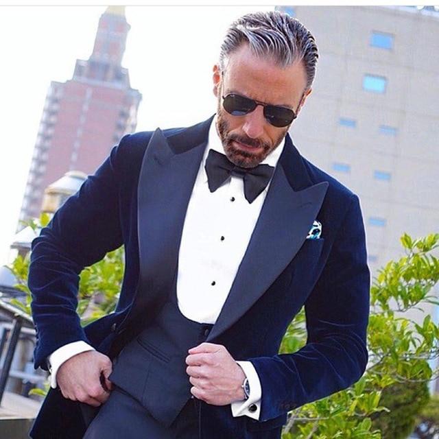 2018 Latest Coat Pant Designs Navy Blue Velvet Blazer Groom Men Suit