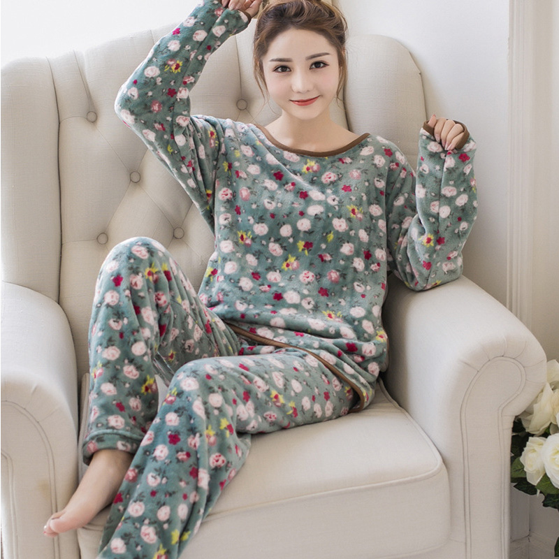 2018 Women Lovely Animal/Flower Pullover Pajama Set Winter Warm LongSleeve Pants Trousers Outfits For Female Soft Home Sleepwear