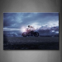 Framed Wall Art Pictures Man Motorcycle Canvas Print Car Modern Posters With Wooden Frames For Living Room Office Decor