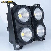 1 pçs/lote 4 olhos 100w led audiência luz cob branco quente 2in1 cor led cob par luz estágio led blinder luz 3/7/16ch|led audience light|blinder light|par light -