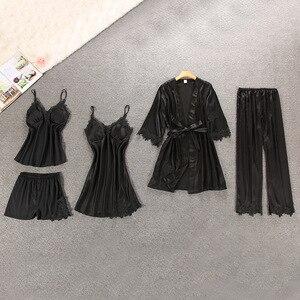 Image 5 - Women Pajamas 5 Pieces Satin Sleepwear Pijama Silk Home Wear Home Clothing Embroidery Sleep Lounge Pyjama with Chest Pads