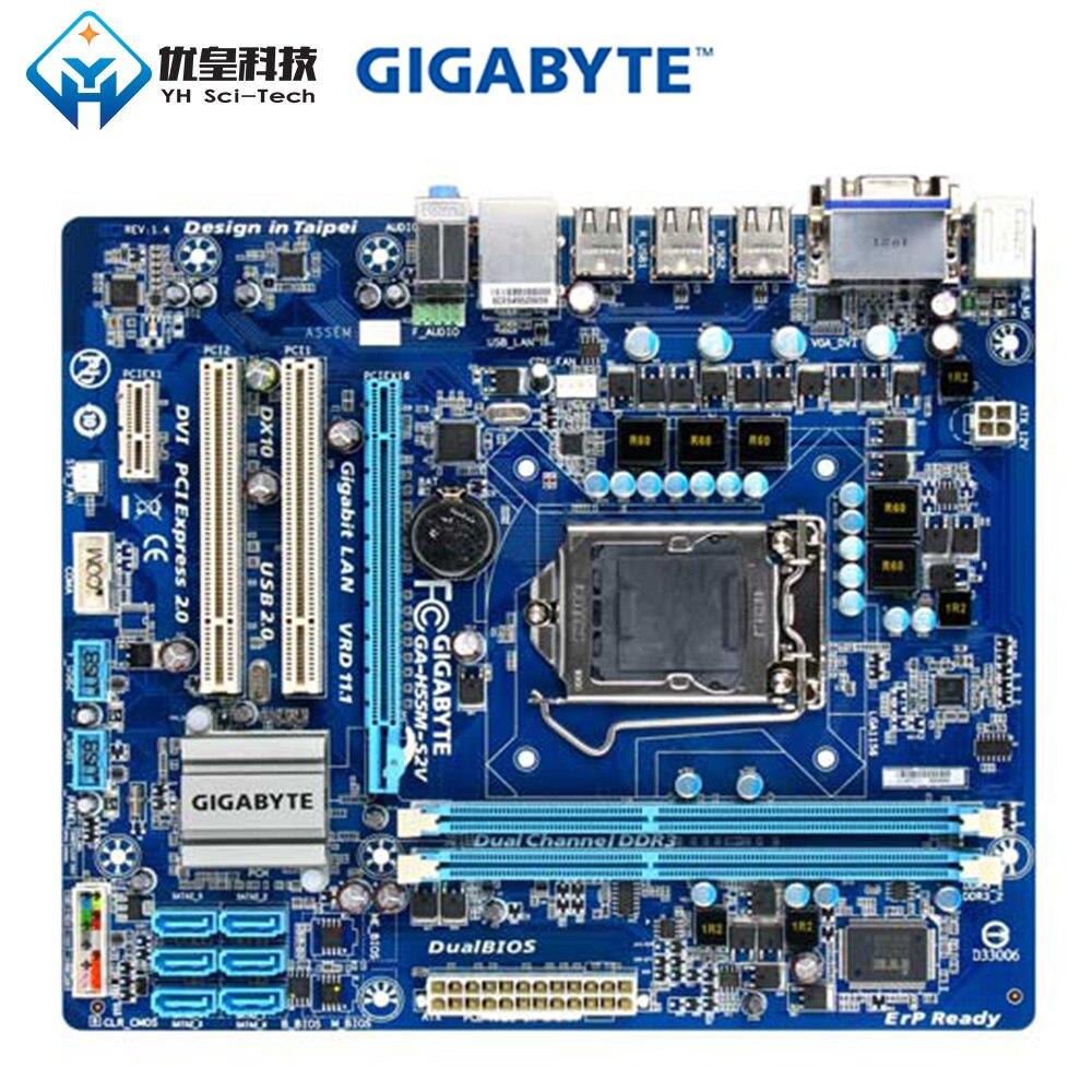 Original Used Desktop Motherboard Gigabyte GA-H55M-S2V H55 LGA 1156 Core I7 I5 I3 DDR3 8G SATA2 USB2.0 VGA DVI Micro-ATX