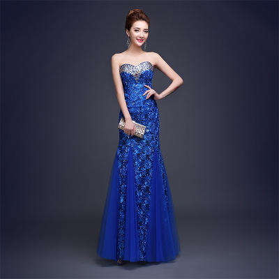 2016 Fashion Strapless Royal Blue Long Evening Dress Chinese Wedding Qipao Cheongsam Womens Lace Dresses Party Gown LS006
