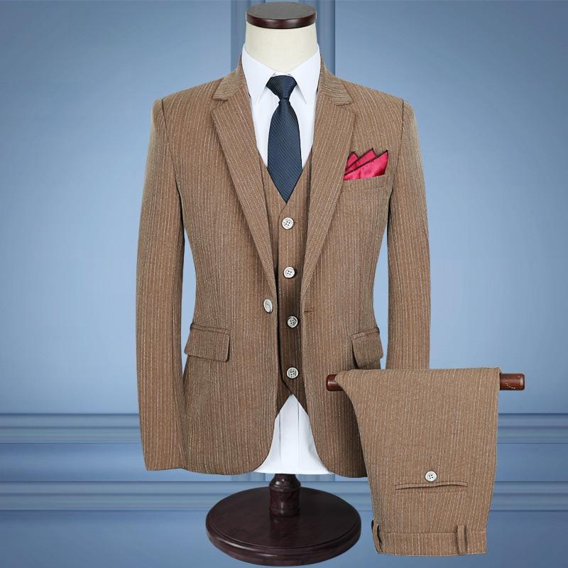 De Taille Costumes costumes 5xl Décontractée tz75 Rayé Gilet 2018 Costume Hommes tz69 Pantalon Veste Tz70 Trois Nouveaux D'affaires pièce wqRwY1