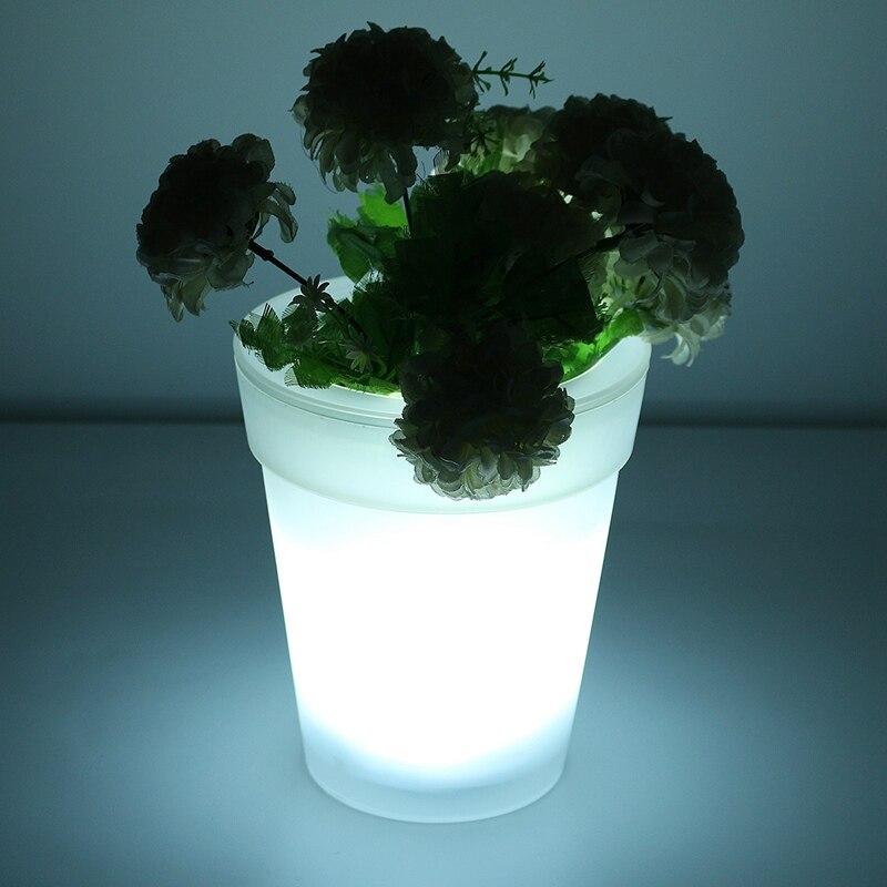 solar power led soalr light illuminated lighting outdoor flower pot plastic planter white home garden decorative - Outdoor Flower Pots