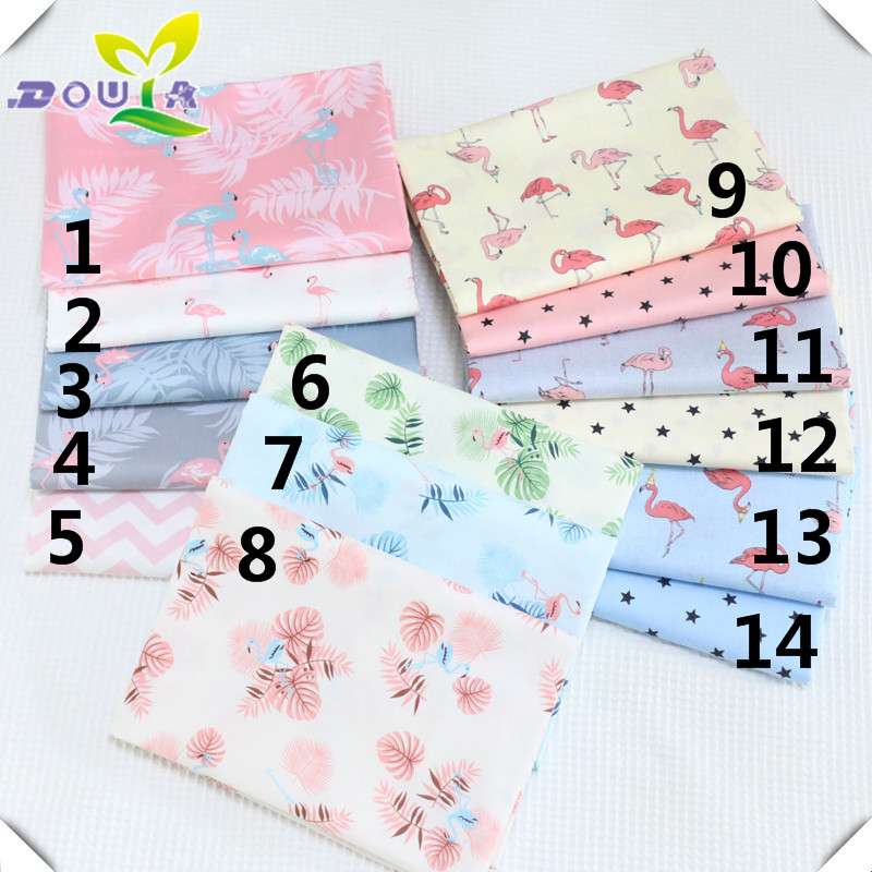 Flamingo cotton fabric cartoon pure cotton twill cloth infant bag by hand printed cloth with bed sheet quilt cover