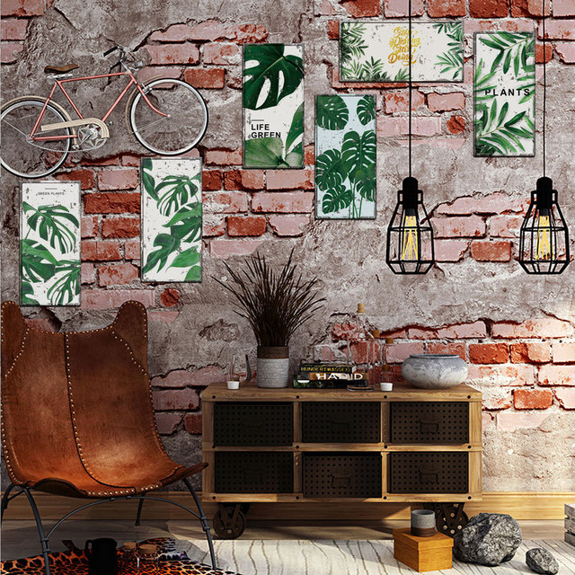 Us 4 18 5 Off 6pcs Set Nordic Paml Leaf Pvc Self Adhesive Poster For Cafe Pub Fake Tin Sign Decal Art Home Decor Stickers Monstera Diy Mural In