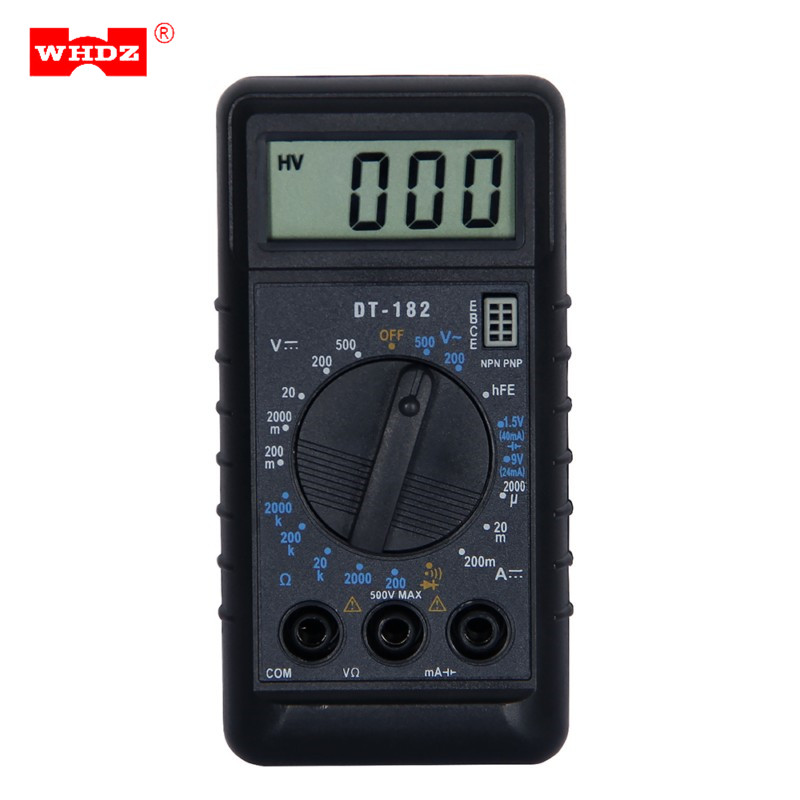 WHDZ DT182 Extra Mini Digital Multimeter with Buzzer Overload Protection Pocket Voltage Ampere Ohm Meter DC AC LCD Portable Tool