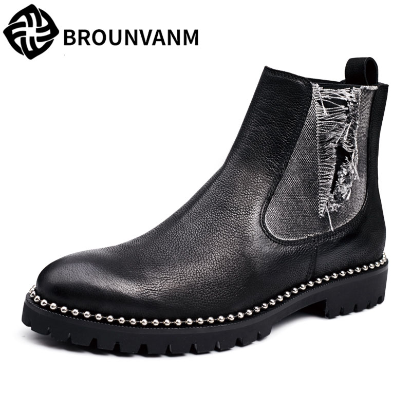 Winter high boots men Retro Leather men shoes for Martin sets foot in fashion boots Chelsea  breathable,British,handmade fashion 2017 new autumn winter british retro men shoes leather shoes breathable fashion boots men casual shoes handmade fashion comforta