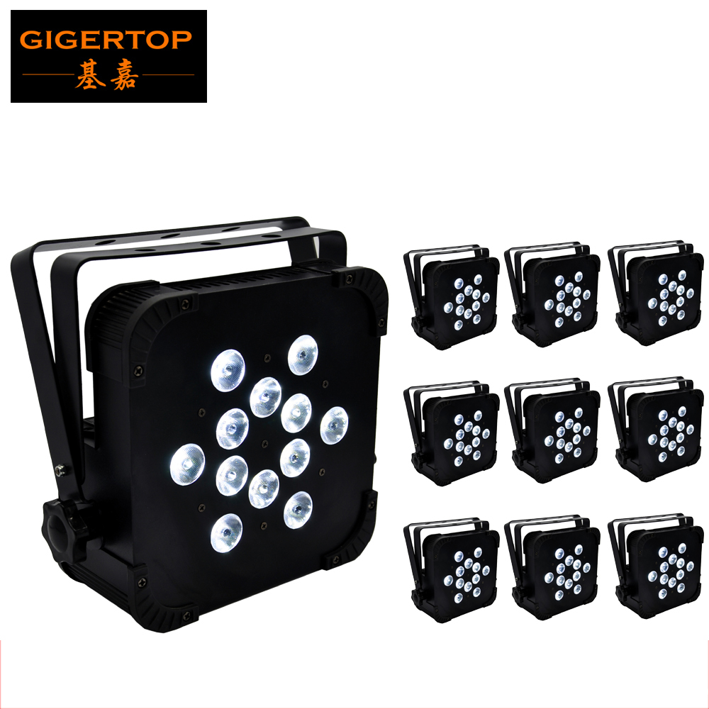 TIPTOP 10 Pack 12x12W RGBW Slim Led Par Light Small Lens 4in1 DJ Flat Par Cans Black Housing Club DJ Party Stage DMX512 Control 10 1 inch sg6179 fpc