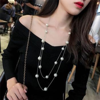 Długi łańcuszek ze sztucznymi perłami