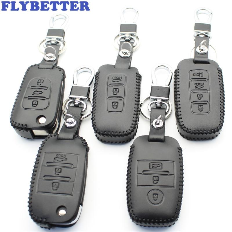 FLYBETTER Genuine Leather Key Case Cover For Kia KX3/RIO/Ceed/Cerato/Optima/K5/Sportage/Sorento/K2/Soul/K3/Sedona/Grand/Carnival