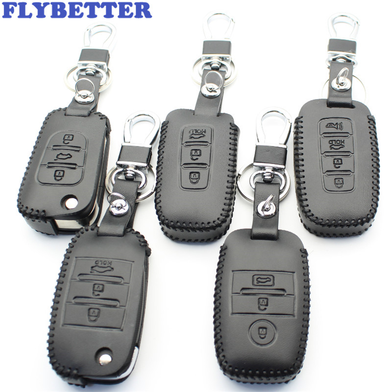 FLYBETTER Genuine Leather Key Case Cover For Kia KX3/KX5/K3S/RIO/Ceed/Cerato/Optima/K5/Sportage/Sorento/K2/Soul/K3 Car Styling 3 buttons car smart remote key 433 9mhz for soul sportage sorento mohave k2 k5 rio optima forte cerato for kia