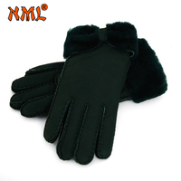Female Gloves Mitten Bowknot Winter Warm Fur Leather Thick Fashion Glove Real Sheepskin Casual Girls Wool