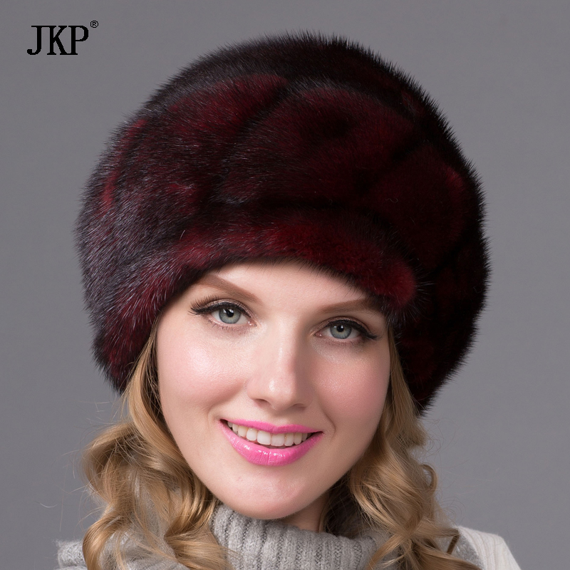JKP Really natural Winter fur cap real mink fur hats for women adjustable   skullies     beanie