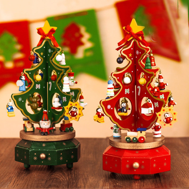 wooden christmas tree rotating music box christmas decorations eight music boxes desktop decoration christmas gifts
