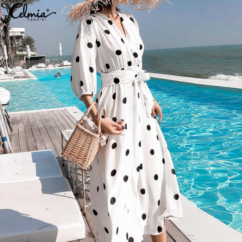Oversized Women Sexy V-Neck Polka Dot Print Beach Dress Celmia 2019 Summer Bohemian Lantern Sleeve Belt Maxi Dress Robe Vestidos