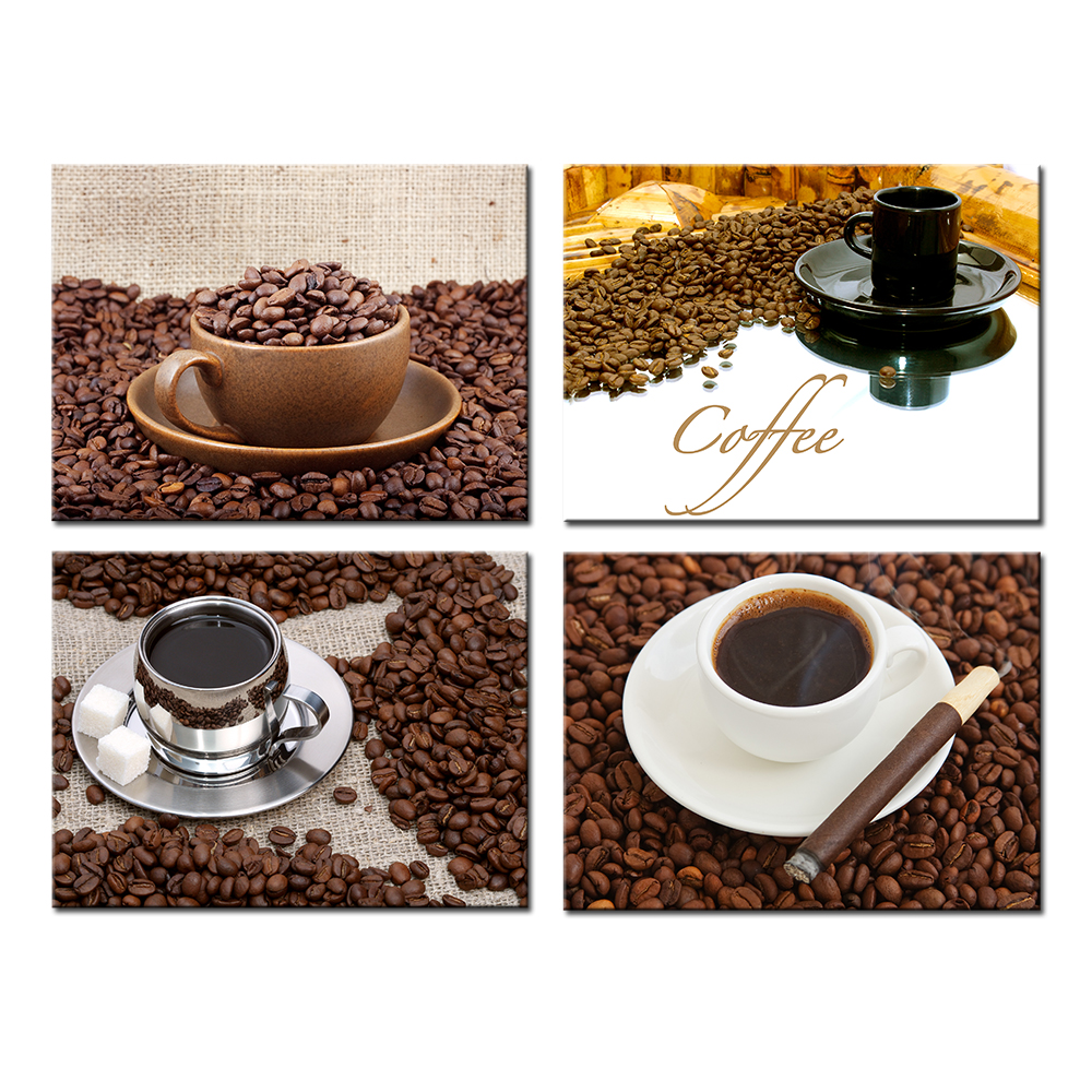 4 Panels Wall Decor Canvas Art Theme Coffee And Coffee Bean Hd Pictures Prints Modern Painting For Kitchen Office Decorations