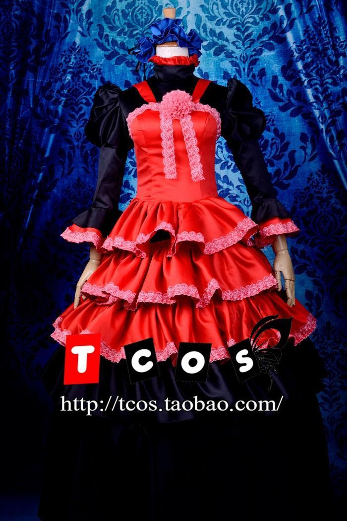 Brdwn Shakugan No Shana Cosplay Shana Gothique Costume Lolita Femmes Robe  Longue Jupe de Robe de Soirée Robe Roulé 4047b976e8e