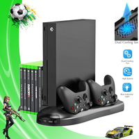 For Xbox One X 5 in 1 Vertical Stand Cooling Fan with Controller Charger Charging Dock Station Game Discs Storage + 3 USB Ports