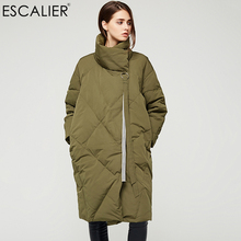 Escalier White Duck Down Warm Down Coats 2017 Women Long Nine point sleeve Parka Winter Thick long type Pockets Down Jacket