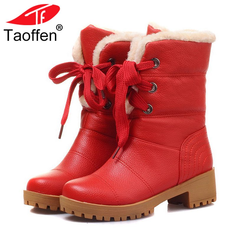 Taoffen Women Half Short Boots Square Heels Winter Plush Fur Warm Mid Calf Boot Bota Lace-up Gladiator Botas Shoes Size 34-43 women high heel half short boots thickened fur warm winter plush mid calf snow boot woman botas footwear shoes p21994 size 34 39