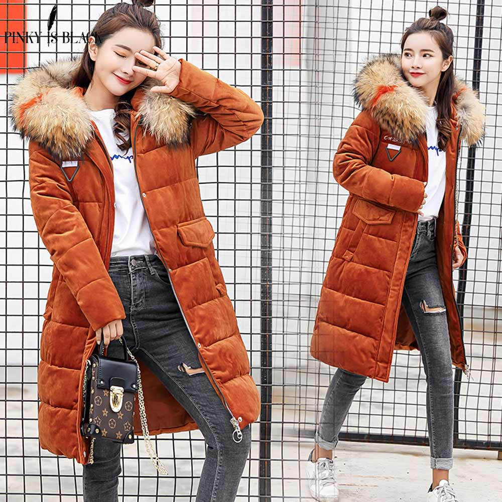 PinkyIsBlack 2018 winter jacket women thick warm outwear winter coat women clothing long   parkas   hooded jaqueta feminina inverno