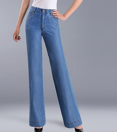 Wide leg pants for women plus size tencel jeans casual full length summer spring autumn high waist trousers female yyf0733 plus size casual loose wide leg pants summer new women s boyfriend spliced holes blue jeans high waist ankle length trousers