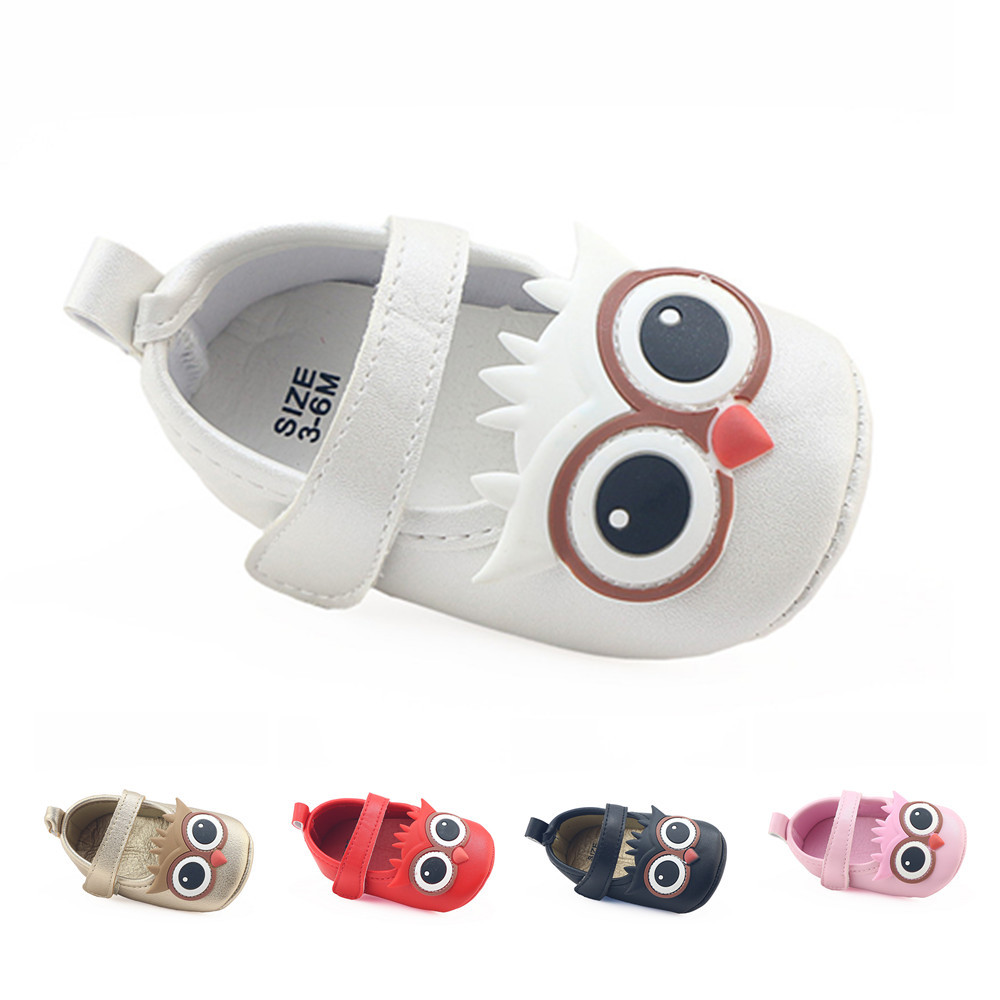 Bavoirsj Cute Teesels Big Eyes Owls PU Leather Loop Baby Shoes For Girls Boys New Borns First Walkers B1863