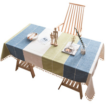 Colorful Plaid Decorative Linen Tablecloth With Tassel Waterproof Oilproof Rectangular Wedding Dining Table Cover Table Cloth solid green white grey table linen cover table cloth rectangular dining wedding party round tablecloth