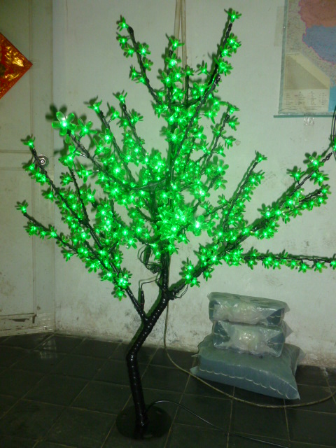 Free ship Christmas New year decor Green Cherry Blossom Tree Light 480pcs LED Bulbs 1.5m Height 110/220VAC Rainproof Outdoor