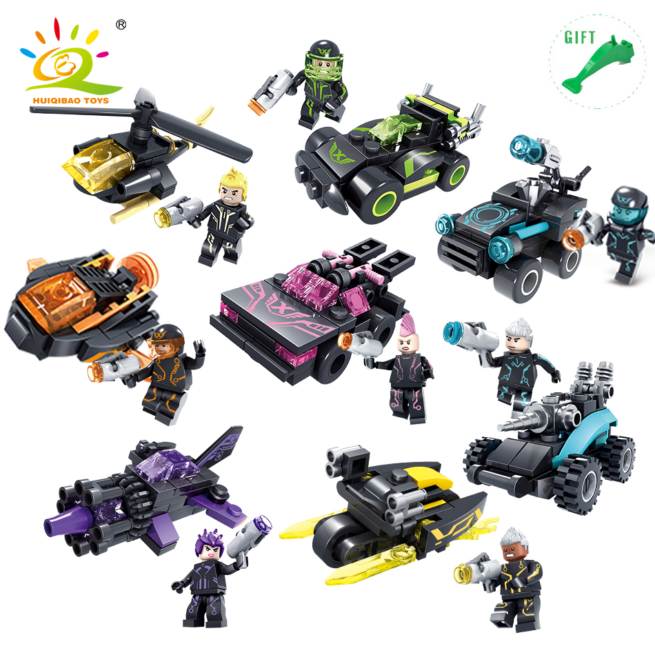 8set Future Police Armor Car Building Blocks kit toys for children Compatible Legoed city figures technic weapon Helicopter tank