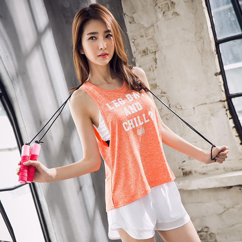 Full of youthful vitality sexy outdoor sports fitness tops simple letter decorative clothes running breathable vest