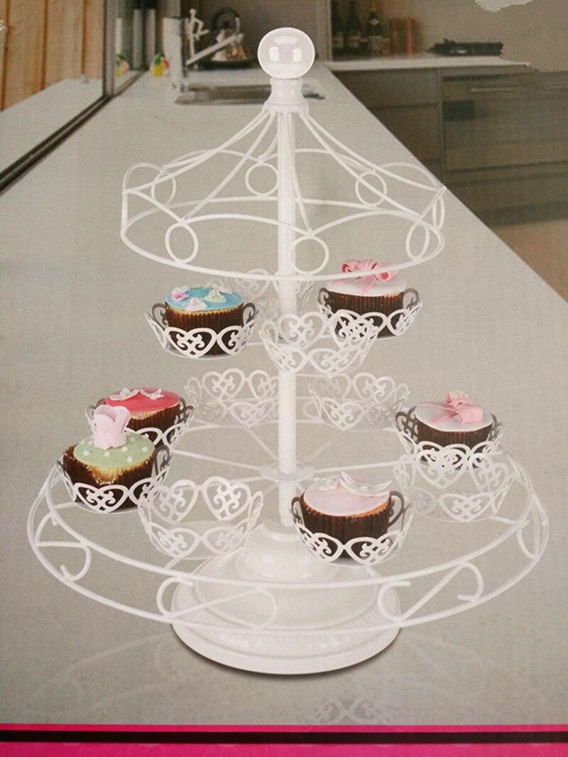 Fer forgé blanc 12 tasses gâteau support carrousel guidon pour la décoration de fête - 2