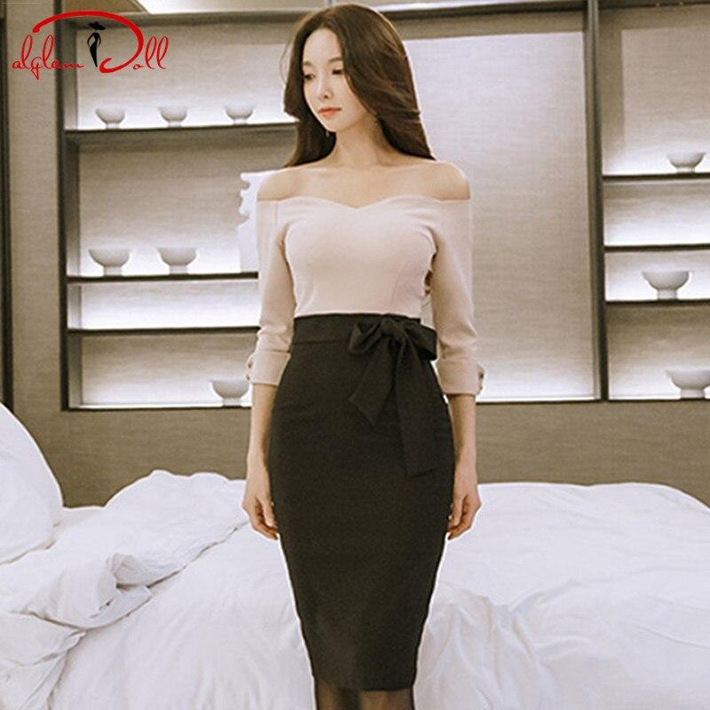 2018 Spring Strapless Slim Bodycon Sexy party Dress Bowknot Pink Black Pencil Knee-Length Midi Vestidos Women Cloth