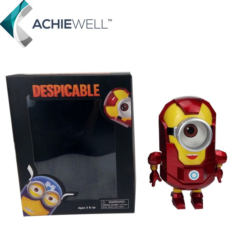 "Free Shipping Anime Cartoon <font><b>Despicable</b></font> <font><b>Me</b></font> 2 <font><b>Minion</b></font> PVC <font><b>Action</b></font> <font><b>Figure</b></font> Toy Doll Iron Man <font><b>Style</b></font> 8""20cm"