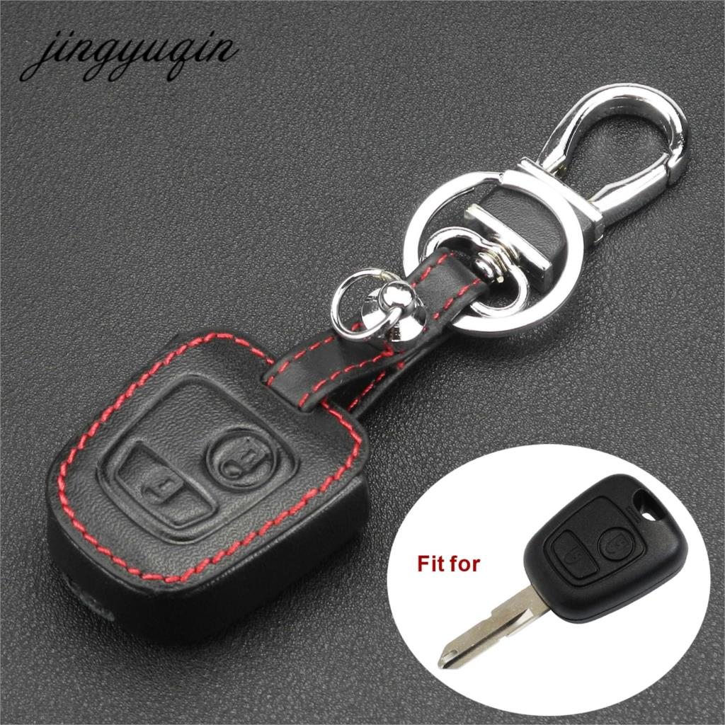 Jingyuqin Leather Remote Key Car Key Fob Case Cover For Citroen C1 C4 For Peugeot 107 207 307 407 206 306 406