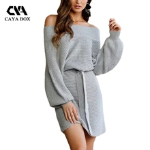 CAYA BOX winter knitted sweater dress women 2017 cut off shoulder autumn long lantern sleeve sashes