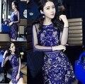 2016 Europa Las Mujeres de La Vendimia Elegante Malla de Encaje Azul Vestido de Verano Corto Encima de La Rodilla Vestidos de Partido Delgado Elegante de Las Señoras Bodycon Vestido