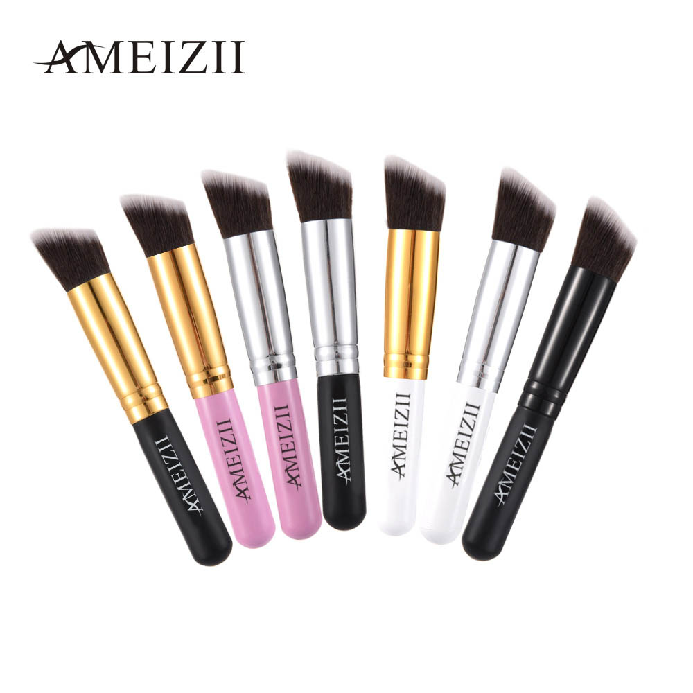 все цены на AMEIZII Pro Angled Flat Top Base Liquid Cosmetic Makeup Brush Cosmetic Make up Powder Foundation Blush Eye Shadow Brush 1pcs онлайн