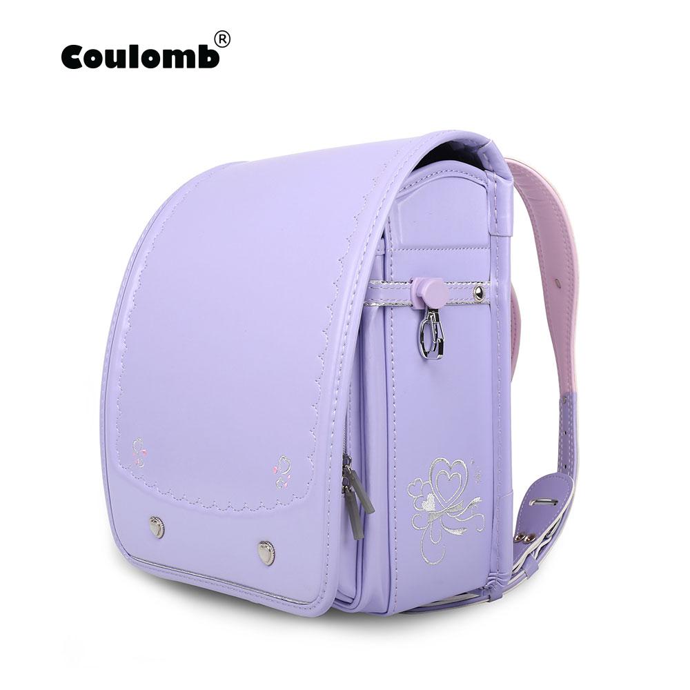Coulomb Randoseru Kids Back Pack Girl PU Hasp Purple Reflective Child Book Bag Orthopedic Japan Baby