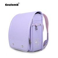 Кулоновского Ранец детский рюкзак из искусственной кожи для девочек Hasp фиолетовый Светоотражающие детской книги сумка ортопедические Япо