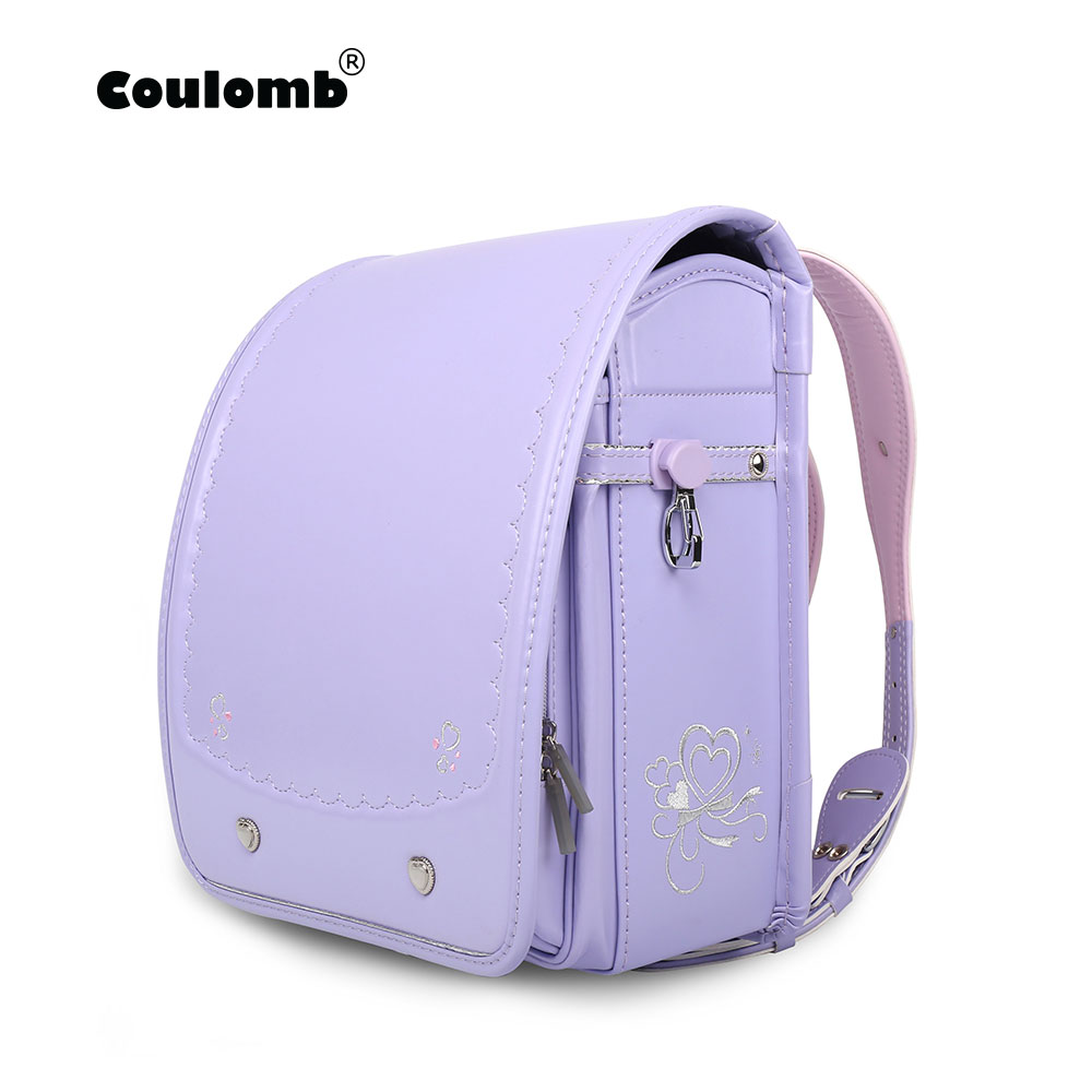 Coulomb Randoseru Kids Back Pack Girl PU Hasp Purple Reflective Child Book Bag Orthopedic Japan Baby's School Bag Childen Gift