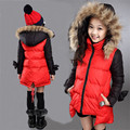 Girls Long Jackets 2016 New Arrivals Warm Add Cotton Coats Children's Outwear Fur Hooded Red Down Parkas Clothes