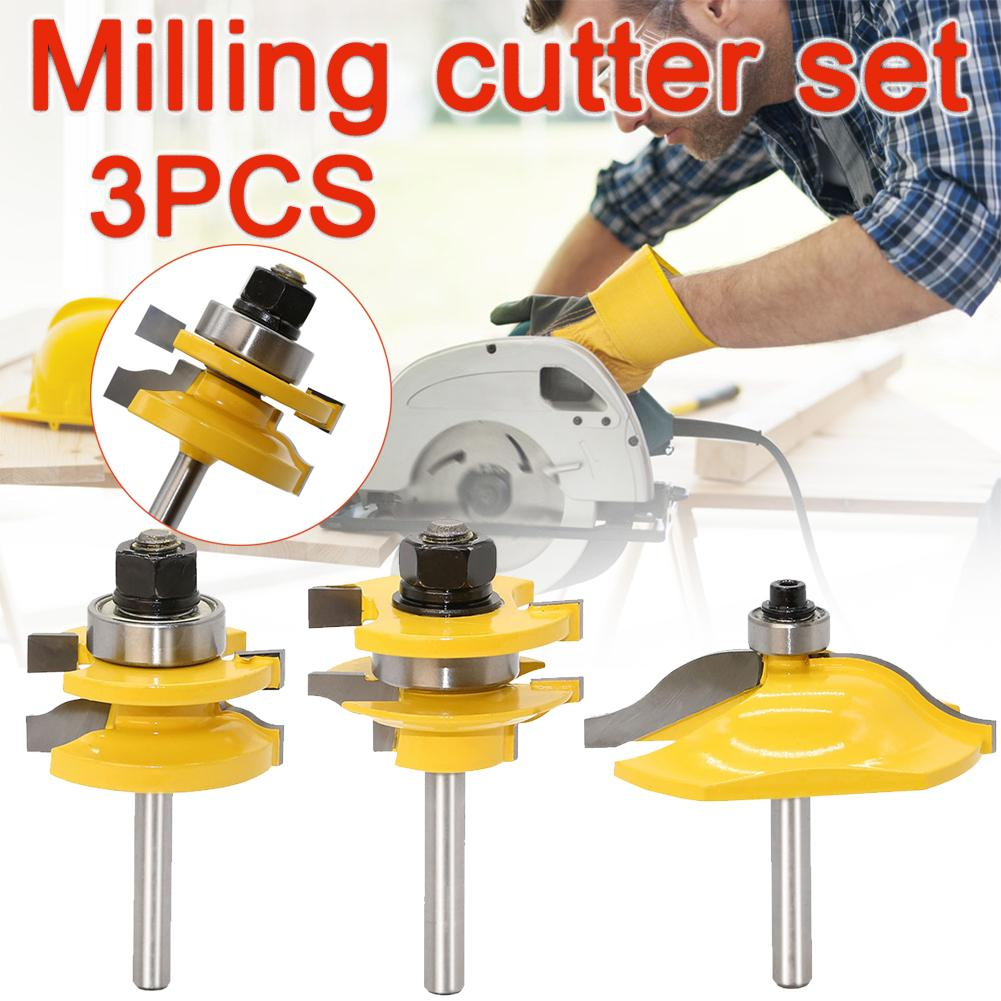 3PCS 1/4 Woodworking Drill Bit Tools Set Shank Wood Tenon Router Bit Trimming Door Cupboard Frame Milling Cutters #F professional 3pcs set woodworking chamfer countersink drill bit 6mm 8mm 10mm diameter gold color drill bit for marble tapper