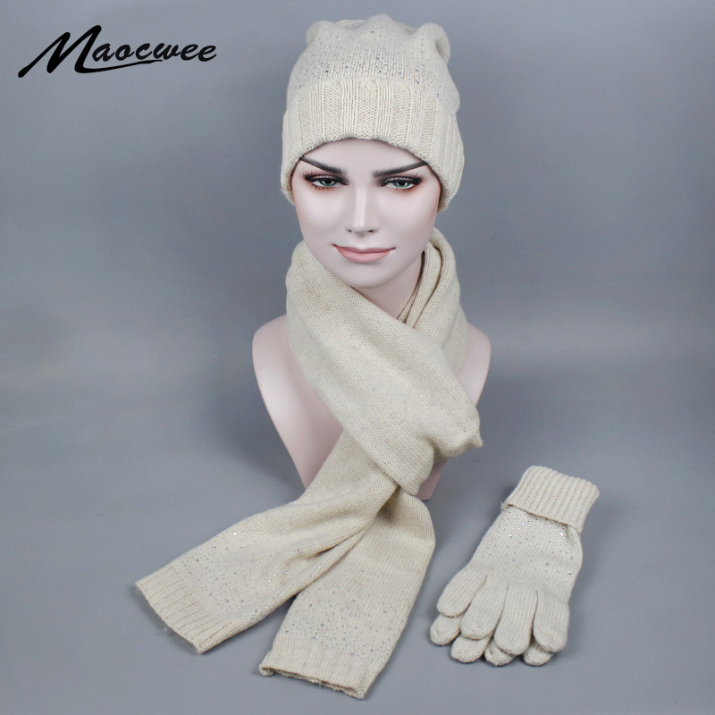 Winter Knitted Scarf Hat & Glove Sets For Women Inlaid Diamonds Wool Warm Scarves Skullies Beanies