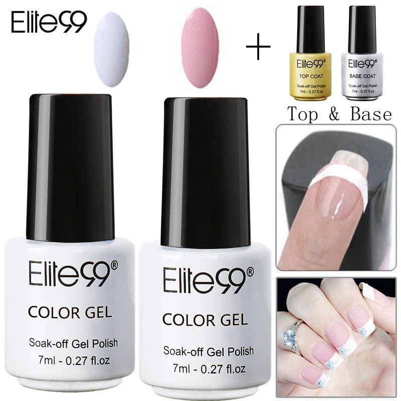 Pink Nail Polish Top Coat: Elite99 4 Pieces French Nail Art Pink White Gel Nail