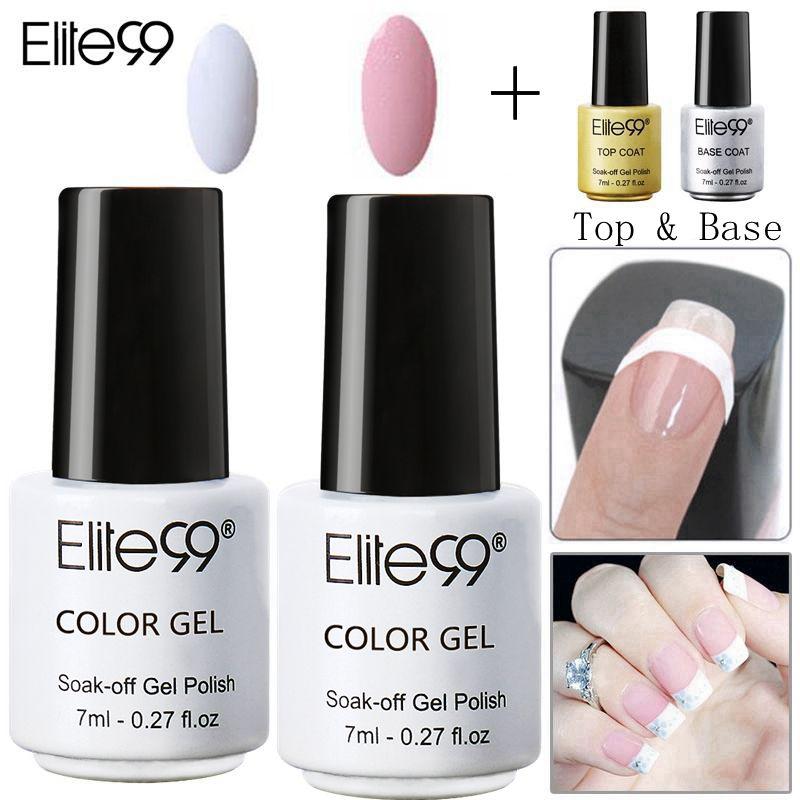 Маникюрный лак Elite99 для французского дизайна ногтей, 4 шт., розовый, белый Гель-лак с наконечниками, верхнее покрытие, Базовый Гель-лак, 7 мл