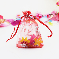 200 Pieces Red Organza Bag 7x9cm Small Wedding Decoration Favor Candy Gift Bag Butterfly Print Packaging Bags Drawstring Pouch